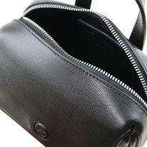 イタリア製サフィアーノレザー3WAYハンドバッグ DALIA、ブラック、詳細3