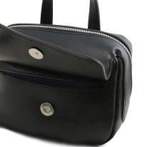 イタリア製サフィアーノレザー3WAYハンドバッグ DALIA、ブラック、詳細4