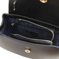 イタリア製スムースレザー2WAYハンドバッグ LUNA、ブラック、詳細2