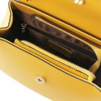 イタリア製スムースレザー2WAYハンドバッグ LUNA、マスタード、詳細2