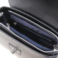 イタリア製スムースレザー2WAYハンドバッグ TL BAG、ブラック、詳細3