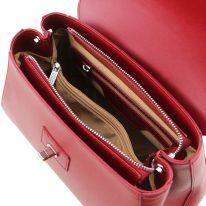 イタリア製スムースレザー2WAYハンドバッグ TL BAG、レッド、詳細3