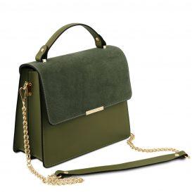 イタリア製スムースレザー&スウェード2WAYハンドバッグ IRENE、オリーブグリーン、詳細1