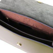 イタリア製スムースレザー&スウェード2WAYハンドバッグ IRENE、オリーブグリーン、詳細2