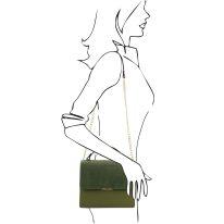 イタリア製スムースレザー&スウェード2WAYハンドバッグ IRENE、オリーブグリーン、詳細3