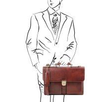 イタリア製ベジタブルタンニンレザーのビジネスバッグ ASSISI、ブラウン、詳細