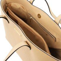 イタリア製シボ型押しレザートートバッグTL BAG、シャンパーニュ、詳細3