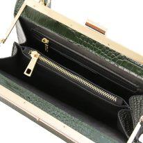 イタリア製クロコ型押しレザー2WAYハンドバッグ IRIS、フォレストグリーン、詳細3