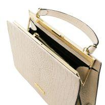 イタリア製クロコ型押しレザー2WAYハンドバッグ IRIS、ホワイト、詳細2