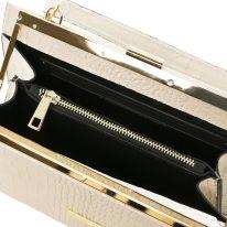 イタリア製クロコ型押しレザー2WAYハンドバッグ IRIS、ホワイト、詳細4
