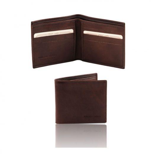 イタリア製フルグレインレザーの小銭入れ無しメンズ財布、ダークブラウン