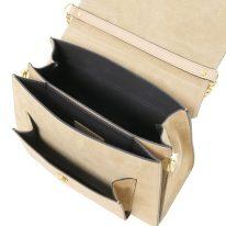 イタリア製スムースレザー&スウェード2WAYハンドバッグ ANDROMEDA、詳細2