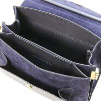 イタリア製スムースレザー&スウェード2WAYハンドバッグ ANDROMEDA、ダークブルー、詳細2
