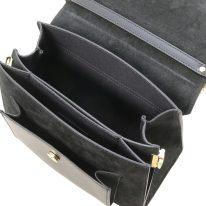 イタリア製スムースレザー&スウェード2WAYハンドバッグ ANDROMEDA、ブラック、詳細2