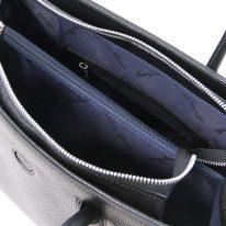 イタリア製シボ型押しレザーのトートバッグ ORCHIDEA、ブラック、詳細4