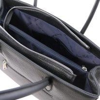 イタリア製シボ型押しレザーのトートバッグ ORCHIDEA、ブラック、詳細5