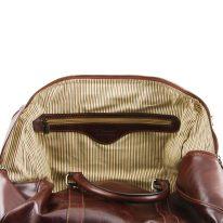 イタリア製ベジタブルタンニンレザーのボストンバッグ裏ポケットつきTL VOYAGER(Sサイズ)、詳細5