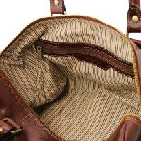 イタリア製ベジタブルタンニンレザーのボストンバッグ裏ポケットつきTL VOYAGER(Sサイズ)、詳細4