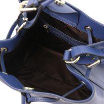 イタリア製サフィアーノレザー2WAY巾着バッグ MINERVA、ダークブルー、詳細4