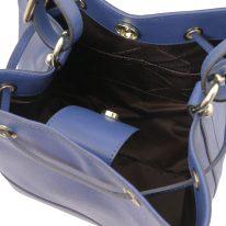 イタリア製サフィアーノレザー2WAY巾着バッグ MINERVA、ダークブルー、詳細5