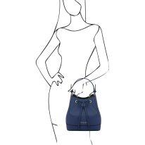 イタリア製サフィアーノレザー2WAY巾着バッグ MINERVA、ダークブルー、詳細6