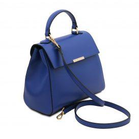 イタリア製サフィアーノレザー2WAYハンドバッグ TL BAG、ブルー、詳細1