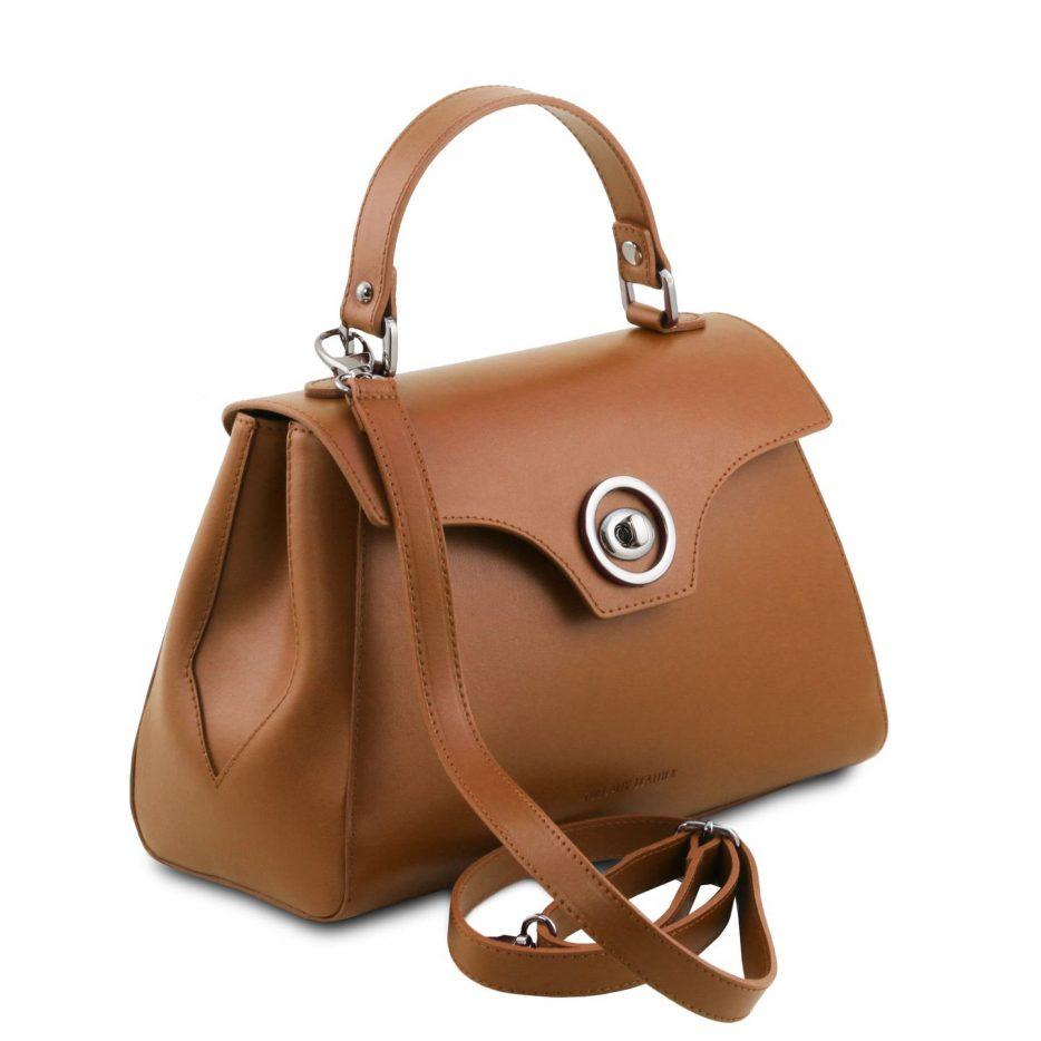 イタリア製スムースレザー2WAYハンドバッグ TL BAG、コニャック、詳細1