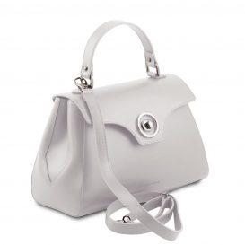スムースレザー2WAYハンドバッグ TL BAG、ホワイト、詳細1