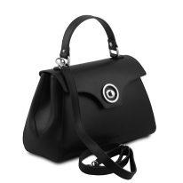 イタリア製スムースレザー2WAYハンドバッグ TL BAG、ブラック、詳細1