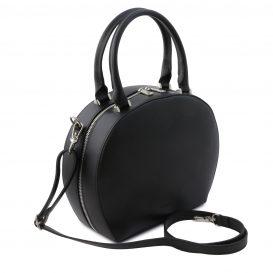 イタリア製スムースレザー2WAYハンドバッグ NINFA、ブラック、詳細1