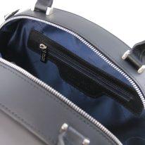 イタリア製スムースレザー2WAYハンドバッグ NINFA、ブラック、詳細5