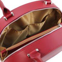 イタリア製スムースレザー2WAYハンドバッグ NINFA、レッド、詳細6