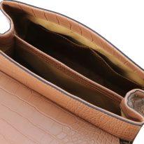 イタリア製クロコ型押しレザー2WAYハンドバッグ TL BAG、ヌード、詳細4