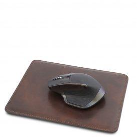 イタリア製ベジタブルタンニンレザーのマウスパッド、ダークブラウン、詳細1