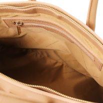 イタリア製シボ型押しレザーのエレガントなハンドバッグTL BAG、シャンパーニュ、詳細4