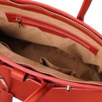 イタリア製シボ型押しレザーのエレガントなハンドバッグTL BAG、ブランデー、詳細3