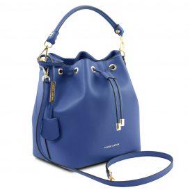 イタリア製スムースレザー2WAY巾着バッグ VITTORIA、ブルー、詳細1