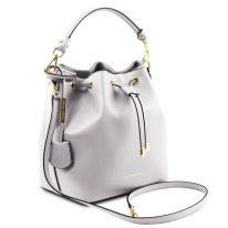 イタリア製スムースレザー2WAY巾着バッグ VITTORIA、ホワイト、詳細1