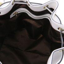 イタリア製スムースレザー2WAY巾着バッグ VITTORIA、ホワイト、詳細2