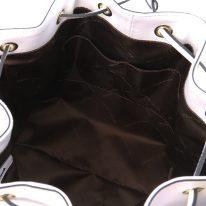 イタリア製スムースレザー2WAY巾着バッグ VITTORIA、ホワイト、詳細3
