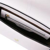 イタリア製スムースレザー2WAYバッグ NAUSICA、ホワイト、詳細2