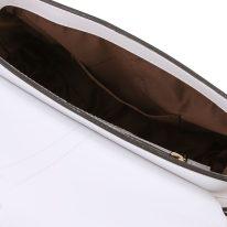 イタリア製スムースレザー2WAYバッグ NAUSICA、ホワイト、詳細3