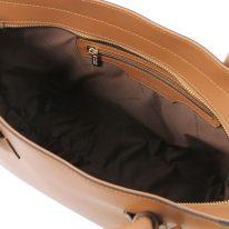 イタリア製スムースレザー2WAYトートバッグ ARIA、コニャック、詳細3