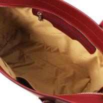 イタリア製スムースレザー2WAYトートバッグ ARIA、レッド、詳細3