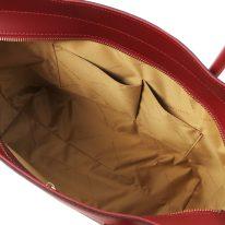 イタリア製スムースレザー2WAYトートバッグ ARIA、レッド、詳細4