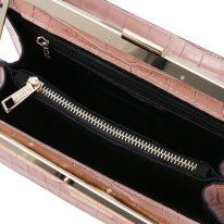 イタリア製クロコ型押しレザー2WAYハンドバッグ IRIS、ヌード、詳細3