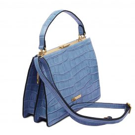 イタリア製クロコ型押しレザー2WAYハンドバッグ IRIS、ライトブルー、詳細1