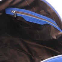 イタリア製シボ型押しレザーの2WAYショルダーバッグ TL BAG、ブルー、詳細4