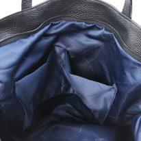 イタリア製シボ型押しレザーの2WAYトートバッグ TL BAG、ブラック、詳細3