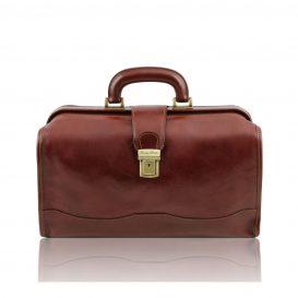 イタリア製ベジタブルタンニンレザーのバッグ RAFFAELLO、ブラウン